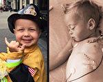 在纽约消防部门的帮助下,得了癌症的3岁男孩特腊克圆了梦。(Team Trucker - Trucker Dukes Supporters/Facebook/大纪元合成)