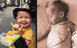 癌症夺命前圆梦 3岁男孩在纽约当上小消防员