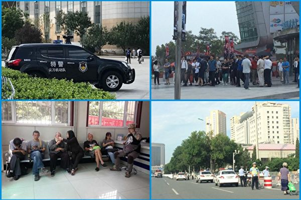 屠夫吳淦煽顛案今天(14日)在天津第二中級法院非公開開庭,中共當局不是抓捕圍觀人員,就是軟禁想要前去的律師。(大紀元合成圖)