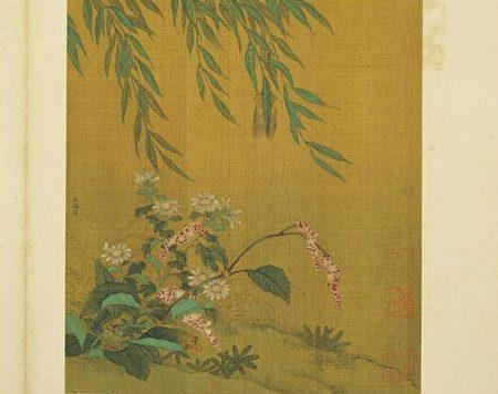 金王庭筠《柳蝉红蓼》,现藏台北故宫博物院。(公有领域)