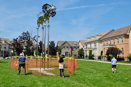 據報導,捐贈者為了立起這個牛塑像,花了100多萬加元。(周月諦/大紀元)
