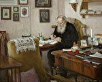 1909年~1910年,油画《在晴园书房中工作的L. N. 托尔斯泰》(公有领域)