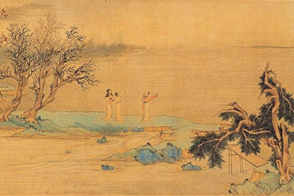 明 文徵明《仿赵伯骕后赤壁图》(局部),描绘苏轼与二友人携酒与鱼复游赤壁。(公有领域)