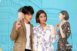 新劇《Man Hole》於7日在首爾永登浦舉行製作發布會,金在中(左)將與Uie(右)搭檔演出。(全景林/大紀元合成)