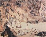"""明朝周臣《柴门送客图》,取材自杜甫《南邻》""""相对柴门月色新""""诗意。(公有领域)"""