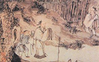 明朝周臣《柴門送客圖》,取材自杜甫《南鄰》「相對柴門月色新」詩意。(公有領域)