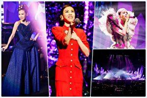 """蔡健雅出道20年,上海重生开唱""""列穆尼亚巡回演唱会""""现场照。(环球音乐/大纪元合成))"""