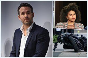 電影《惡棍英雄:死侍2》驚傳女演員薩奇‧碧茨(右上)的替身於當地時間8月14日意外摔車(右下圖)身亡。男主角萊恩‧雷諾斯(左)致哀。(Getty Images/大紀元合成)