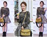 韩国时尚女星刘仁娜于30日受法国精品邀约首度造访台湾。(公关/大纪元合成)