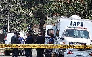 8月1日早晨,洛杉磯中領館槍聲響起。警方隨即包圍了現場。(徐綉惠/大紀元)