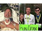 被撞瘫痪的车祸受害者态度如此友善,霍夫曼(右)怔住了。半年后,他们并肩跑完了5公里长跑赛。右为哈夫曼夫妇与迪恩合影。(视频截图/大纪元合成)