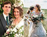 苔丝在去年7月刚办完婚礼,但是身穿的祖传婚纱却在送洗过程中意外地消失了。(FB:Tess Newall/大纪元合成)