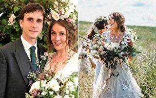 苔絲在去年7月剛辦完婚禮,但是身穿的祖傳婚紗卻在送洗過程中意外地消失了。(FB:Tess Newall/大紀元合成)