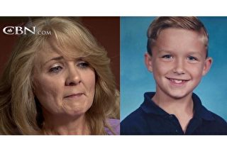 車禍過去多年,8歲的蘭登(圖右)已長大成人,但還記得瀕死的經驗,認為是真實的發生。媽媽朱莉(圖左)據此寫了一本書,鼓舞了很多人逆境中不言放棄。(視頻截圖/大紀元合成)