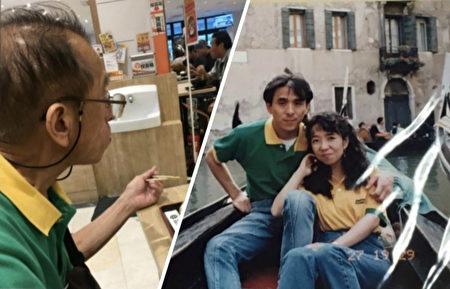 日本網友「R1A」於本月15日貼出自己父親的照片,畫面中身穿的綠衣有著特別意義。(twitter:R1A/大紀元合成)