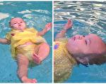 不到一岁的女婴在水中挣扎却未得到帮助,妈妈只在一旁陪伴,背后其实有个伤心的故事。(视频截图/大纪元合成)