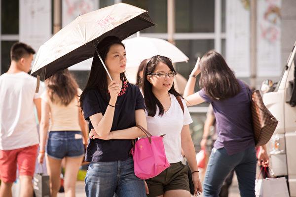 今夏8月高温达8天,打破120年纪录。图为行人撑伞遮阳。(陈柏州/大纪元)