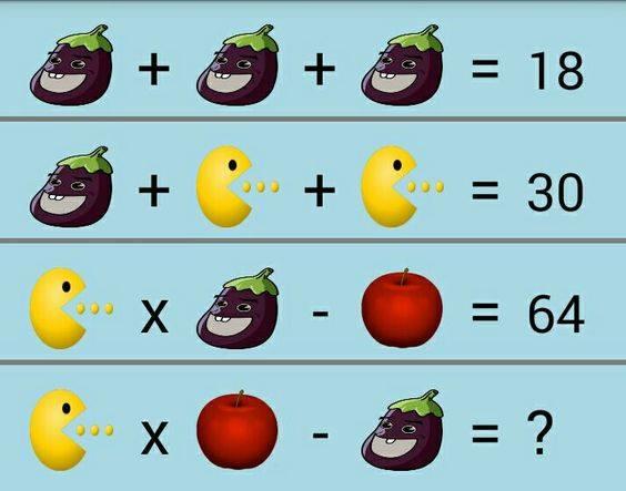 茄子、小怪物和蘋果代表著不同的數字,那麼根據上面的三個等式,你知道第四個等式的結果是什麼呢?(ntd.tv)