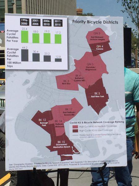交通局把紐約市10個地區列為「優先自行車區」。