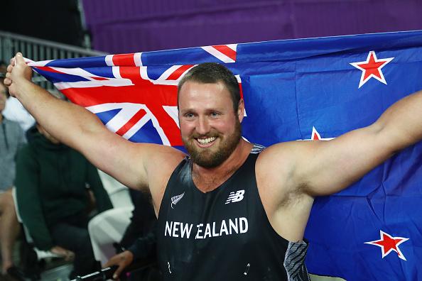 新西兰铅球选手汤姆•沃尔什荣获世界田径锦标赛冠军。 (Michael Steele/Getty Images)