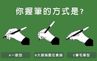 握笔的姿势透露出你大脑中理性与感性的比例。