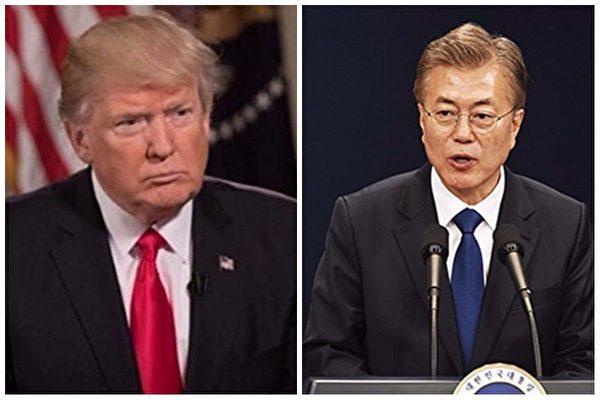 美国总统川普当地时间周日(6日)晚上与韩国总统文在寅通话,双方在通话中一致同意对朝鲜施加最大的压力和制裁。(大纪元合成图)