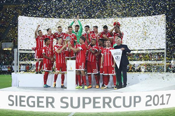 德甲冠軍拜仁慕尼黑在點球大戰中戰勝多特蒙德,奪得德國超級盃冠軍。 (Alex Grimm/Bongarts/Getty Images )