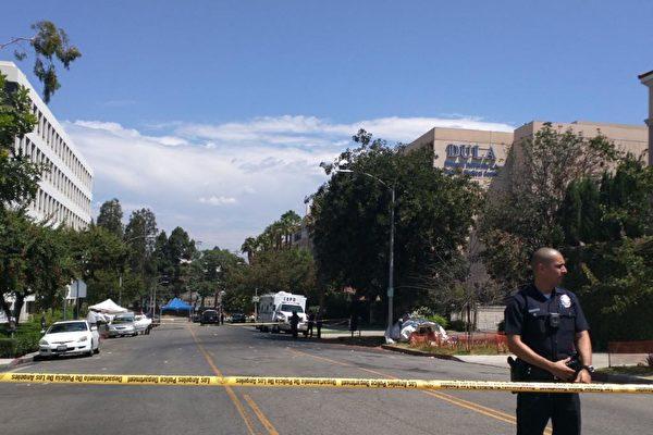 当地时间8月1日(星期二)凌晨6点,洛杉矶中领馆发生枪击案。枪手系华人,已自尽。(徐绣惠/大纪元)