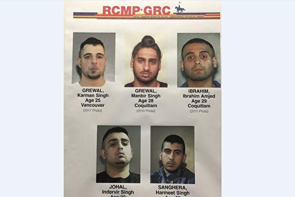 图:素里警方确认,五名男子是多起枪击案件的杀害目标。(警方提供)
