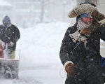 2017年2月9日,波士頓遭遇暴雪氣候。圖為該市街區一景。(Mario Tama/Getty Images)