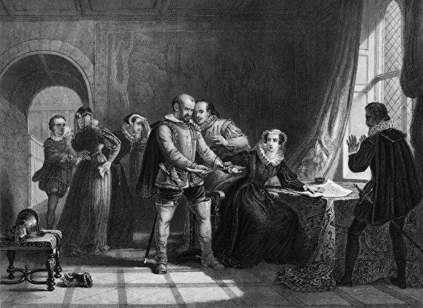 玛丽一世被迫同意退位。苦命的女人,刚出生就没有了父亲,出嫁三次,当了两次寡妇,最后一任丈夫在她危难时刻逃走了,自己的王位也被剥夺了 (Photo by Hulton Archive/Getty Images)