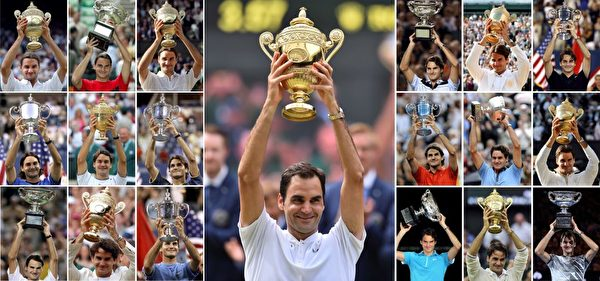 A combination of photographs created in Wimbledon, southwest London on July 16, 2017 shows Switzerlands Roger Federer holding up the trophy for each of his nineteen mens singles grand slam titles: (centre) Wimbledon 2017, (Left hand block of nine from top L-R) Wimbledon 2003, Australian Open 2004, Wimbledon 2004, US Open 2004, Wimbledon 2005, US Open 2005, Australian Open 2006, Wimbledon 2006, US Open 2006, (Right hand block of nine from top L-R) Australian Open 2007, Wimbledon 2007, US Open 2007, US Open 2008, French Open 2009, Wimbledon 2009, Australian Open 2010, Wimbledon 2012, Australian Open 2017. / AFP PHOTO / STF / RESTRICTED TO EDITORIAL USE (Photo credit should read STF/AFP/Getty Images)