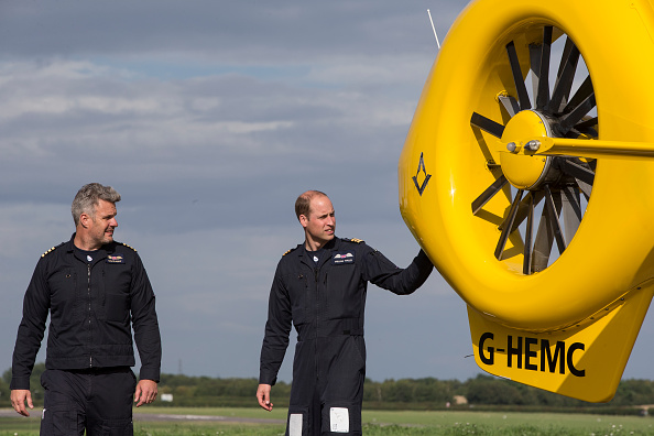 CAMBRIDGE, ENGLAND - JULY 27: Prince William, Duke of Cambridge prepares for his final shift with Cpt Dave Kelly of the East Anglian Air Ambulance based out of Marshall Airport on July 27, 2017 near Cambridge, England. (Photo by Heathcliff O'Malley - WPA Pool/Getty Images)