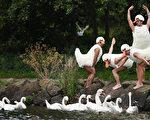 参加爱丁堡边缘艺术节的一个艺术团体在湖边表演滑稽舞蹈。(Jeff J Mitchell/Getty Images)