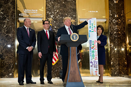 NEW YORK, NY - AUGUST 15: Flanked by (L to R) Director of the National Economic Council Gary Cohn, Treasury Secretary Steve Mnuchin and Transportation Secretary Elaine Chao, President Donald Trump holds up a Federal decision permitting-process flowchart for federally funded highway projects in the United States' while speaking following a meeting on infrastructure at Trump Tower, August 15, 2017 in New York City. He fielded questions from reporters about his comments on the events in Charlottesville, Virginia and white supremacists. (Photo by Drew Angerer/Getty Images)