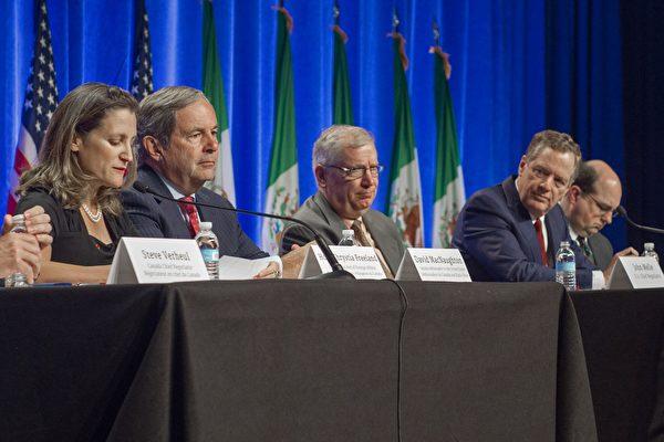 美国、加拿大、墨西哥星期三(8月16日)正式重启《北美自由贸易协定》(North American Free Trade Agreement, NAFTA)谈判。(PAUL J. RICHARDS/AFP/Getty Images)