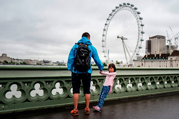 「爸爸,我要坐摩天輪!」英鎊貶值,大量遊客來英國旅遊。今年第二季度,來英的遊客人數達到大約1,075萬,為有紀錄以來人數最高的一個季度。圖為一名兒童遊客和她的爸爸站在倫敦的威斯敏斯特大橋上。(TOLGA AKMEN/AFP/Getty Images)