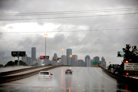 HOUSTON, TX - AUGUST 26: Rain from Hurricane Harvey batters the downtown area on August 26, 2017 in Houston, Texas. Harvey, which made landfall north of Corpus Christi late last night, is expected to dump upwards to 40 inches of rain in Texas over the next couple of days. (Photo by Scott Olson/Getty Images)