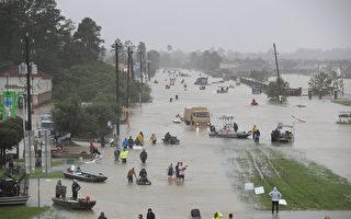 哈維風暴肆虐美國,造成15人死亡,德州休斯頓也遭遇前所未有的洪水。(Joe Raedle/Getty Images)