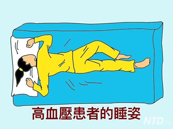 高血壓的睡姿。(Ntd.tv)