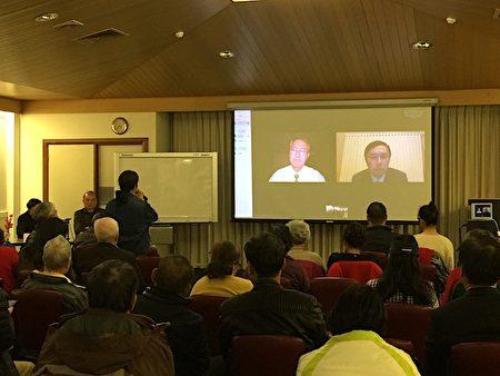 8月12日,澳洲墨爾本博士山市政廳(Box Hill Town Hall)舉行紀錄片《活摘·十年調查》首映式,觀眾在影片結束後踴躍提問。(李欣然/大紀元)