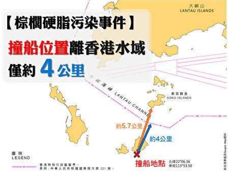 环保触觉义务总干事谭凯邦,根据海事处提供的撞船位置调查后,发现位置于大屿山以南,距离香港水域边界只是4公里。(环保触觉提供)