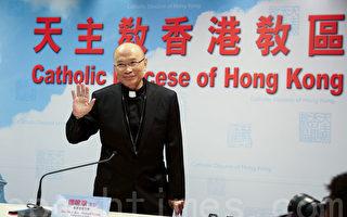 杨鸣章昨日首次以香港教区主教身份与传媒会面。(李逸/大纪元)