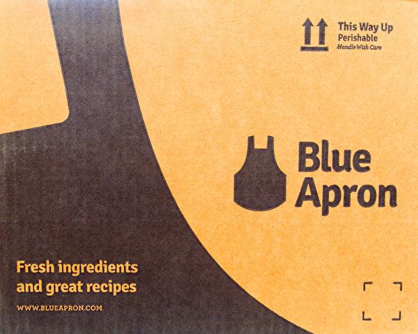 DIY餐点配送服务公司Blue Apron 运送物品的纸盒。(Shutterstock)