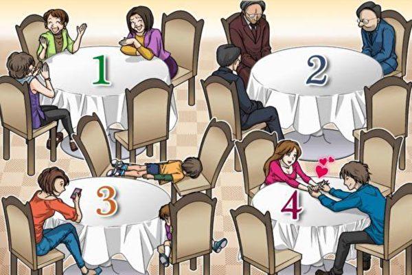 从四张餐桌中挑选出最不想坐的那一张,可以看出你的压力。
