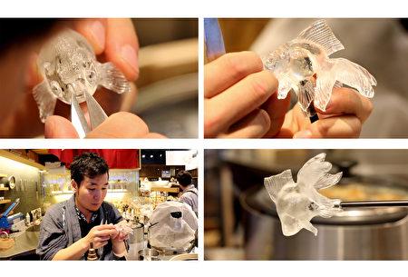 金鱼糖艺制作过程:精雕细琢。(树森/大纪元)