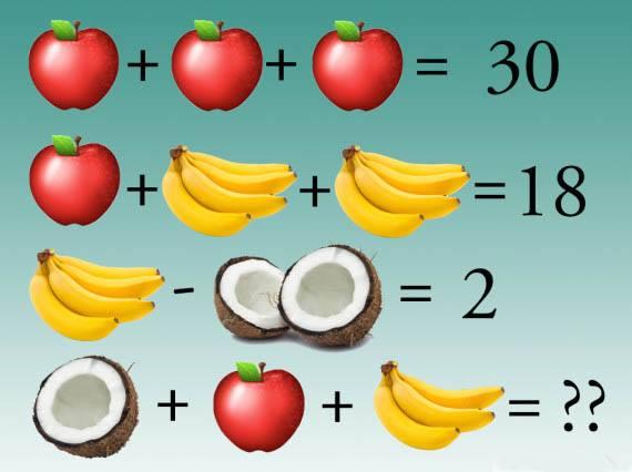 蘋果、香蕉、椰子代表著不同的數字,那麼根據上面的三個等式,你知道第四個等式的結果是什麼呢?(ntd.tv)