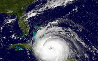 被称为10年来大西洋最强的飓风艾玛,正以每小时180英里的速度向美国佛州逼近。 (NOAA GOES Project/Getty Images)