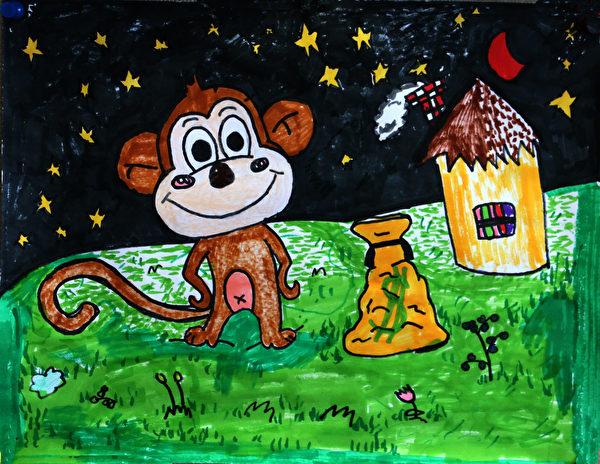 图:明慧学校学生儿童画命题创作《快乐小动物》,作者:卓芷清。(《醉梦画室》提供)