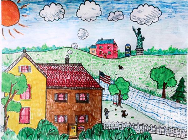 图:明慧学校学生儿童画参赛获奖作品《美丽的美国》,作者:齐格格。(《醉梦画室》提供)